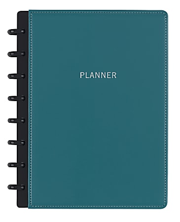 TUL® Monthly Planner Starter Set, Junior Size, Leather Cover, Teal, Undated