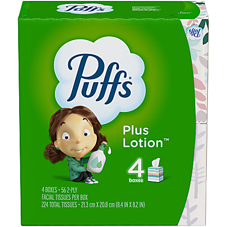 Puffs Plus Lotion 2-Ply Facial Tissues, White, 56 Sheets Per Box, Pack of 4 Boxes