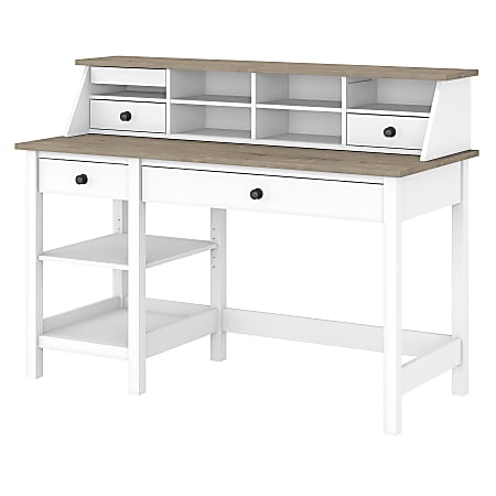 """Bush Furniture Mayfield 54""""W Computer Desk With Shelves And Desktop Organizer, Pure White/Shiplap Gray, Standard Delivery"""