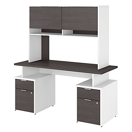 "Bush Business Furniture Jamestown Desk With 4 Drawers And Hutch, 60""W, Storm Gray/White, Standard Delivery"