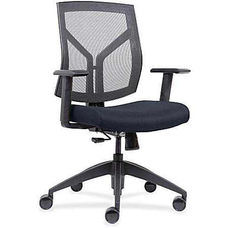 Lorell® Mesh/Fabric Mid-Back Chair, Dark Blue/Black