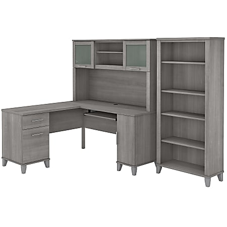 """Bush Furniture Somerset 60""""W L-Shaped Desk With Hutch And 5-Shelf Bookcase, Platinum Gray, Standard Delivery"""