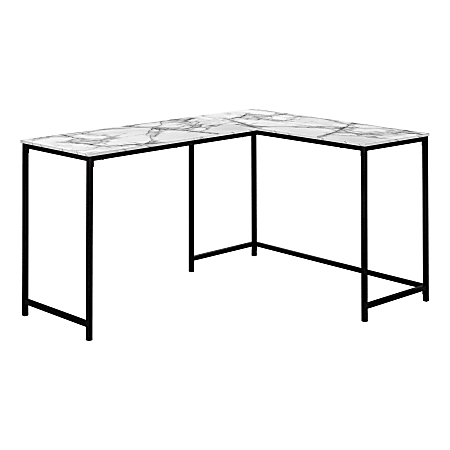 """Monarch Specialties Barry 59""""W L-Shaped Computer Desk, White Marble"""
