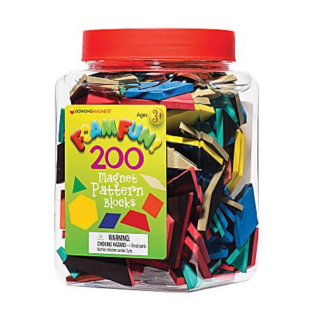 Dowling Magnets Foam Fun Magnets Pattern Blocks, Assorted, Pack Of 200 Blocks, Pre-K - Grade 4
