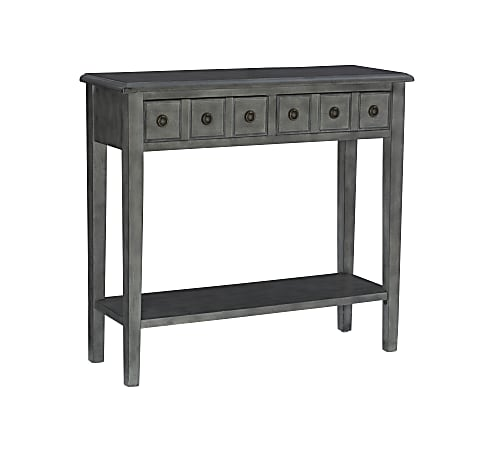 """Powell Southam Small Console Table, 34-3/4""""H x 28""""W x 13""""D, Gray"""