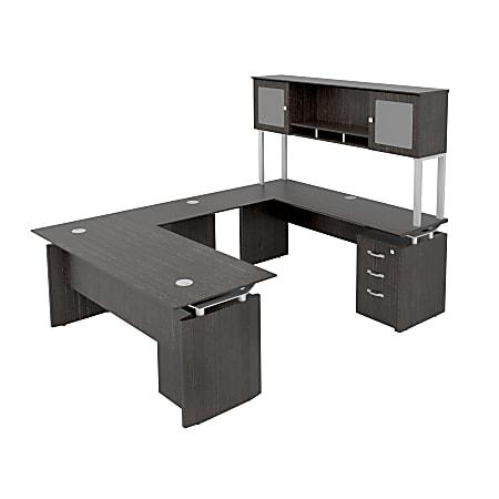 "Forward Furniture Diamond Double-Pedestal U-Desk With Hutch, 72"" x 102"", Appalachian Smoke"