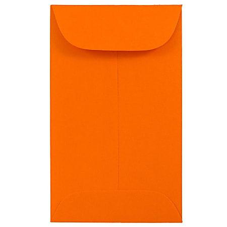 JAM Paper® Coin Envelopes, #3, Gummed Seal, Orange, Pack Of 50 Envelopes