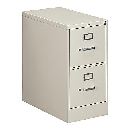 "HON® 310 26-1/2""D Vertical 2-Drawer Letter-Size File Cabinet, Metal, Light Gray"