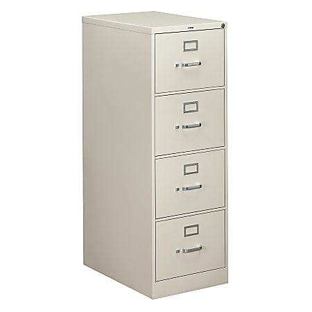 "HON® 310 26-1/2""D Vertical 4-Drawer Letter-Size File Cabinet, Metal, Light Gray"