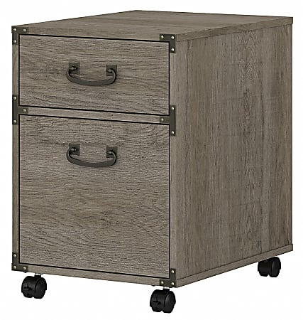 kathy ireland Home by Bush Furniture Ironworks 2-Drawer Mobile File Cabinet, Restored Gray, Standard Delivery