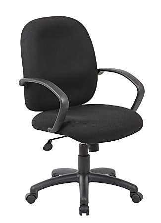 Boss Office Products Ergonomic Budget Tweed Mid-Back Task Chair, Black