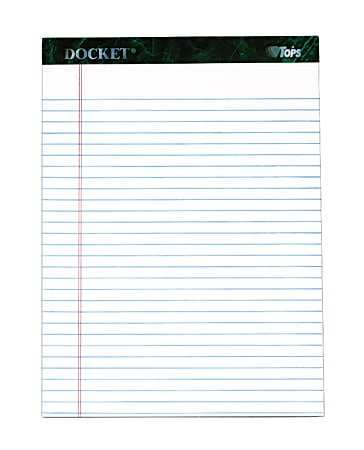 """TOPS™ Docket™ Writing Pad, 8 1/2"""" x 11 3/4"""", Legal Ruled, 50 Sheets, White"""