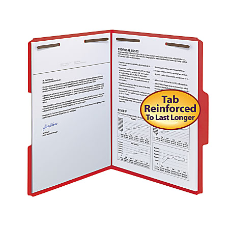 Smead® Color Reinforced Tab Fastener Folders, Legal Size, 1/3 Cut, Red, Pack Of 50
