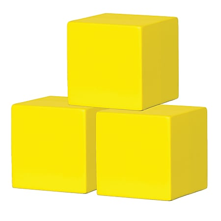 """Teacher Created Resources Foam Blank Dice, 4"""", Yellow, Pack Of 3 Dice"""