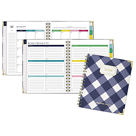"""Emily Ley Gingham Weekly/Monthly Planner, 6 7/8"""" x 8 7/8"""", January to December 2019"""