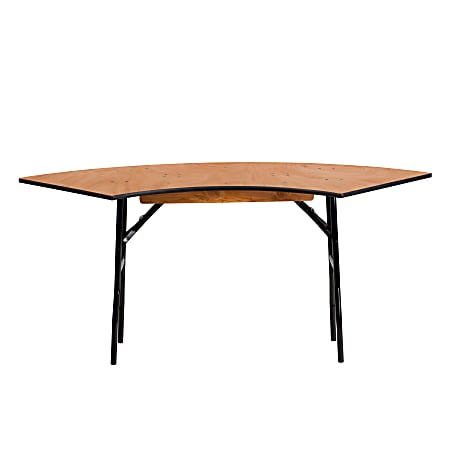 "Flash Furniture Serpentine Folding Banquet Table, 30-1/4""H x 24""W x 48""D, Natural/Black"