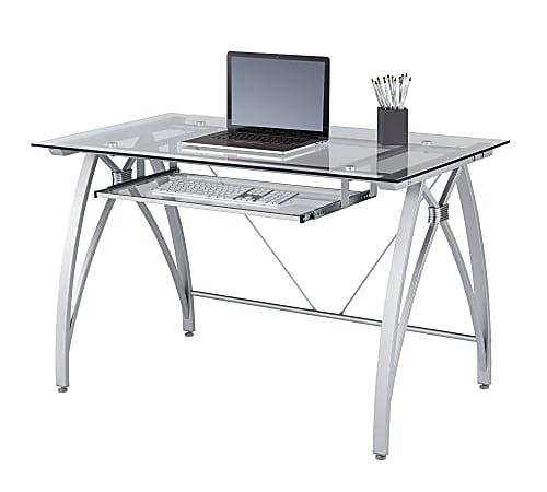 """Realspace® Vista 48""""W Glass Computer Desk, Silver"""