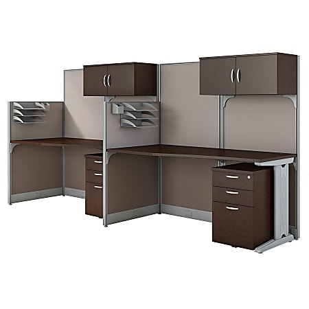 Bush Business Furniture Office in an Hour 2 Person Cubicle Workstations, Mocha Cherry, Premium Installation