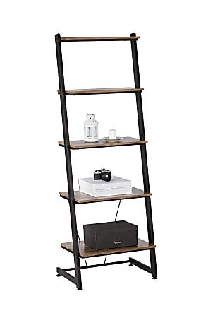 """Realspace® Belling 73""""H Leaning 5-Shelf Bookcase, Modern Oak"""