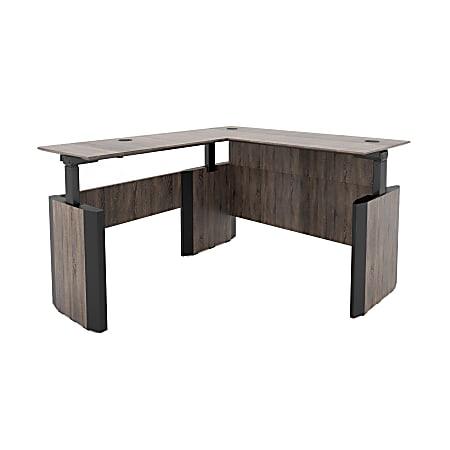"""Forward Furniture Allure Height-Adjustable L-Desk, 29-9/16""""H x 66""""W x 78""""D, Southern Walnut/Black"""