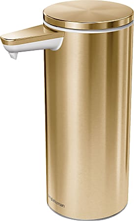 simplehuman Touch-Free Rechargeable Liquid Soap and Hand Sanitizer Dispenser, 9 Oz, Brass