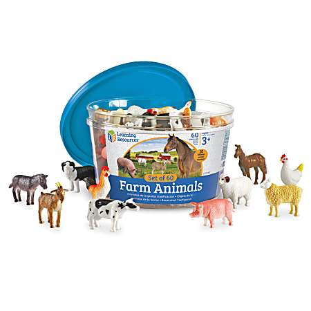 """Learning Resources Farm Animal Counters, 2"""" x 2"""", Assorted Colors, Grade 4 - 7, Set Of 60 Counters"""