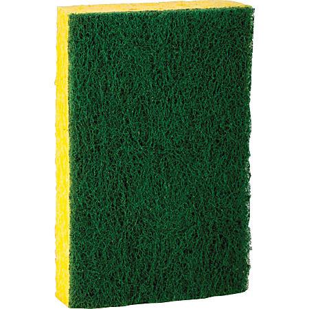 "Scotch-Brite Heavy-Duty Scrub Sponges - 2.8"" Height x 4.5"" Width x 4.5"" Depth - 36/Carton - Green, Yellow"