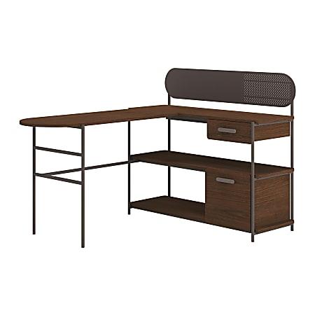 """Sauder Radial 60""""W L-Desk, Umberwood/Black"""