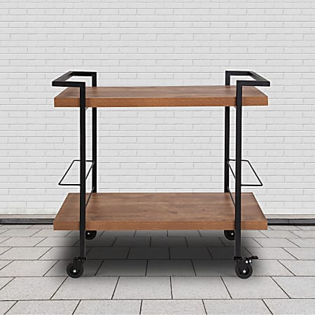 """Flash Furniture Castleberry Wood Grain And Iron Kitchen Serving And Bar Cart, 30""""H x 31-3/4""""W x 16""""D, Rustic"""