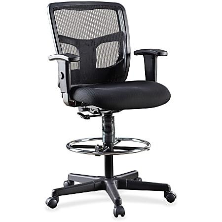 Lorell® Ratchet Ergonomic Mesh/Fabric Mid-Back Task Stool, Black Seat/Black Frame, Quantity: 1