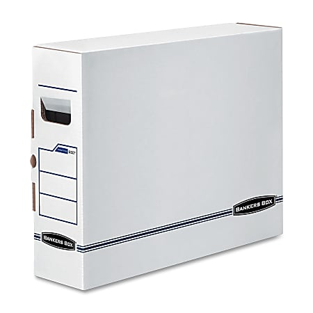 """Bankers Box® X-Ray Storage Boxes, 15 3/4"""" x 5 1/4"""" x 19 3/4"""", 65% Recycled, White/Blue, Case Of 6"""