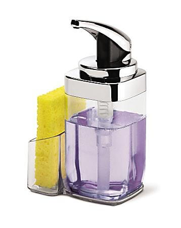 simplehuman 22 Oz Square Push Soap Pump With Caddy, Chrome