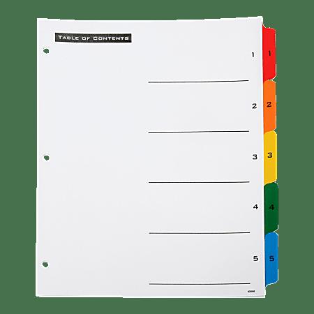 SKILCRAFT® Numerical Index Divider Sheets, Letter, Assorted Colors, Set of 5