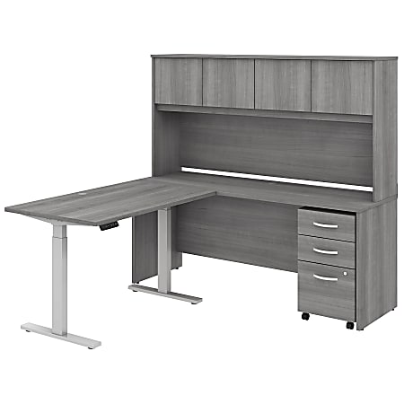 """Bush Business Furniture Studio C 72""""W x 24""""D L-Shaped Desk With Hutch, 48""""W Height-Adjustable Return And Storage, Platinum Gray, Standard Delivery"""
