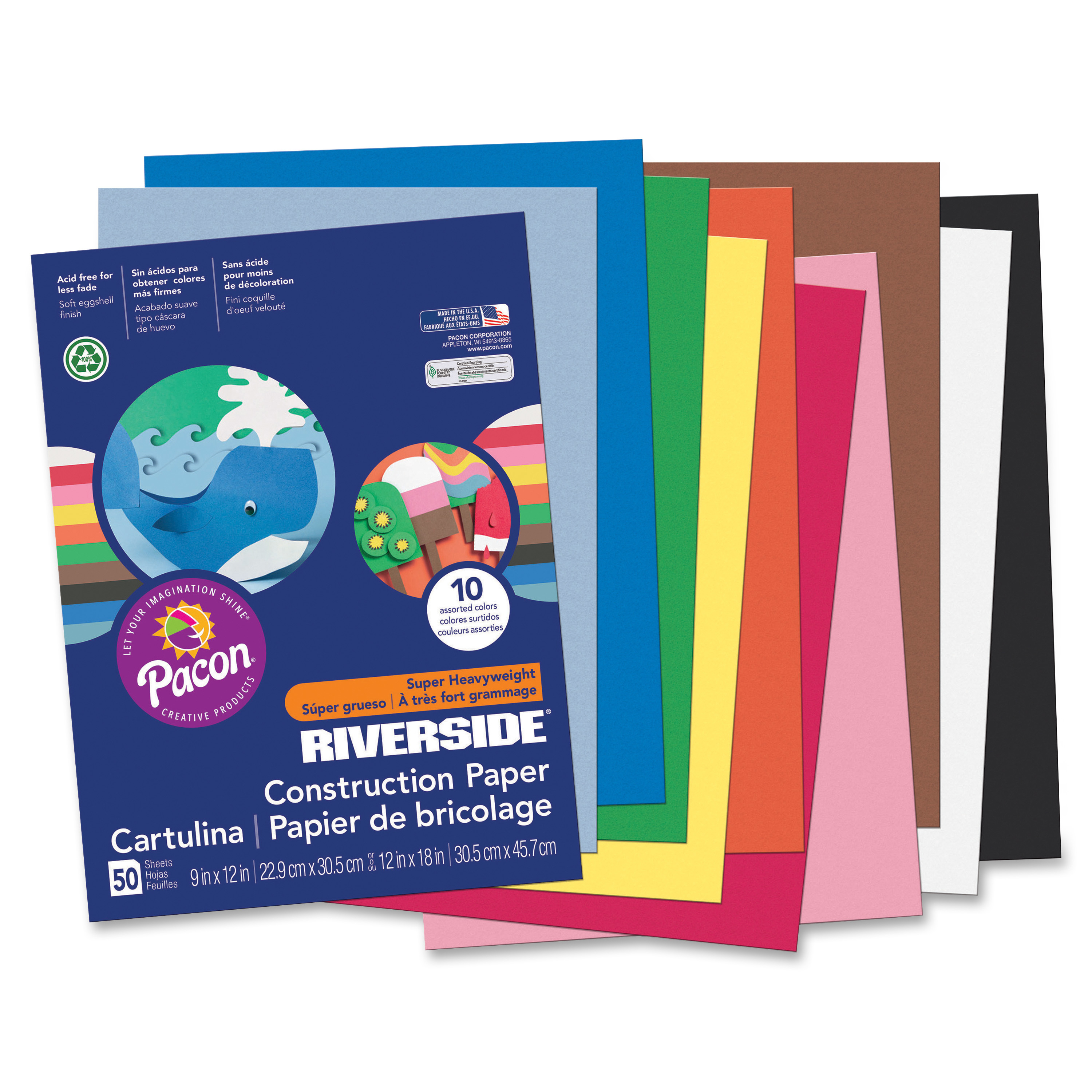 """Riverside® Groundwood Construction Paper, 100% Recycled, 9"""" x 12"""", Assorted Colors, Pack Of 50"""