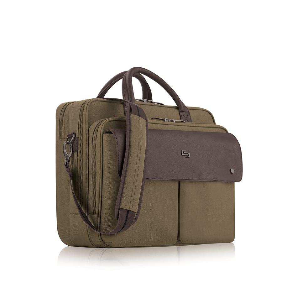 "Solo Executive Polyester Briefcase For 15.6"" Laptops, Brown/Khaki"