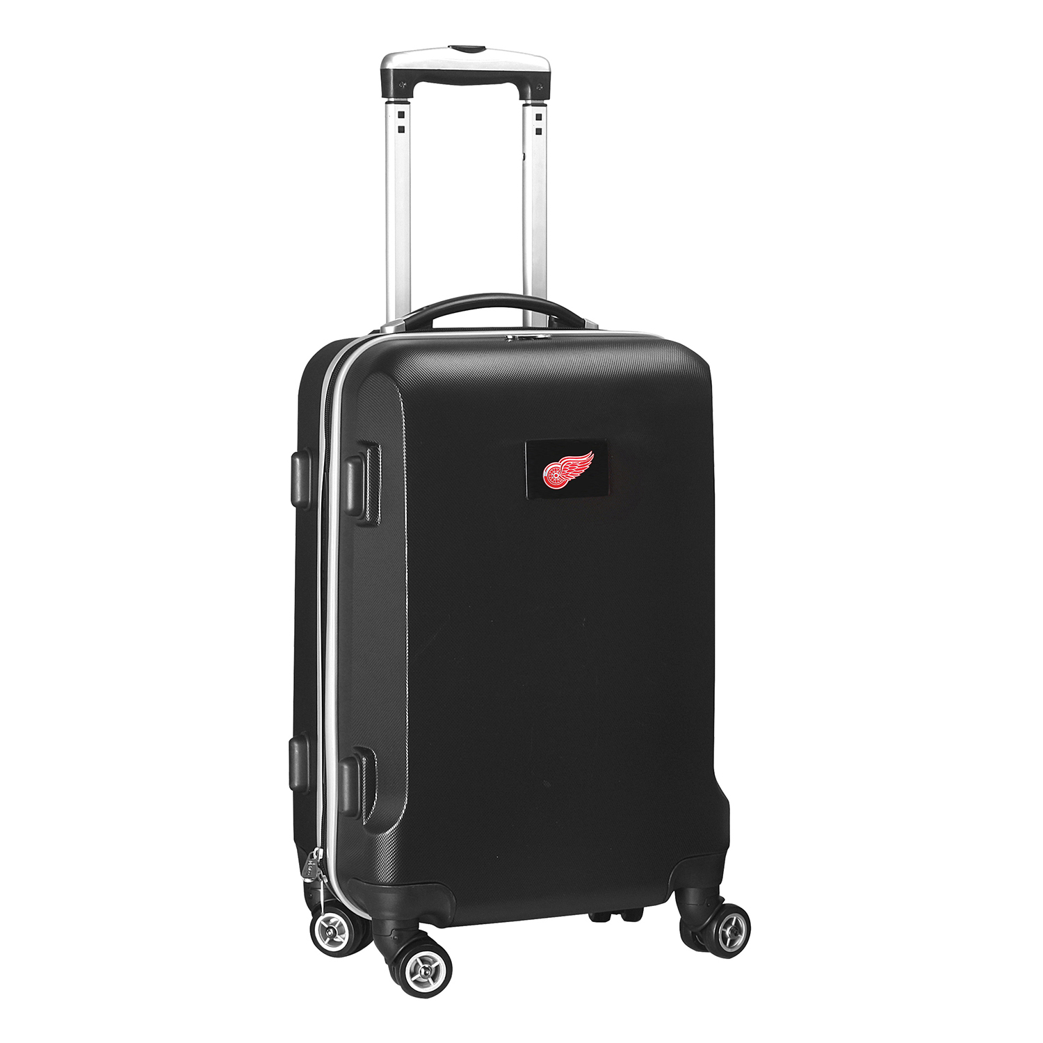 """Denco 2-In-1 Hard Case Rolling Carry-On Luggage, 21""""H x 13""""W x 9""""D, Detroit Redwings, Black"""