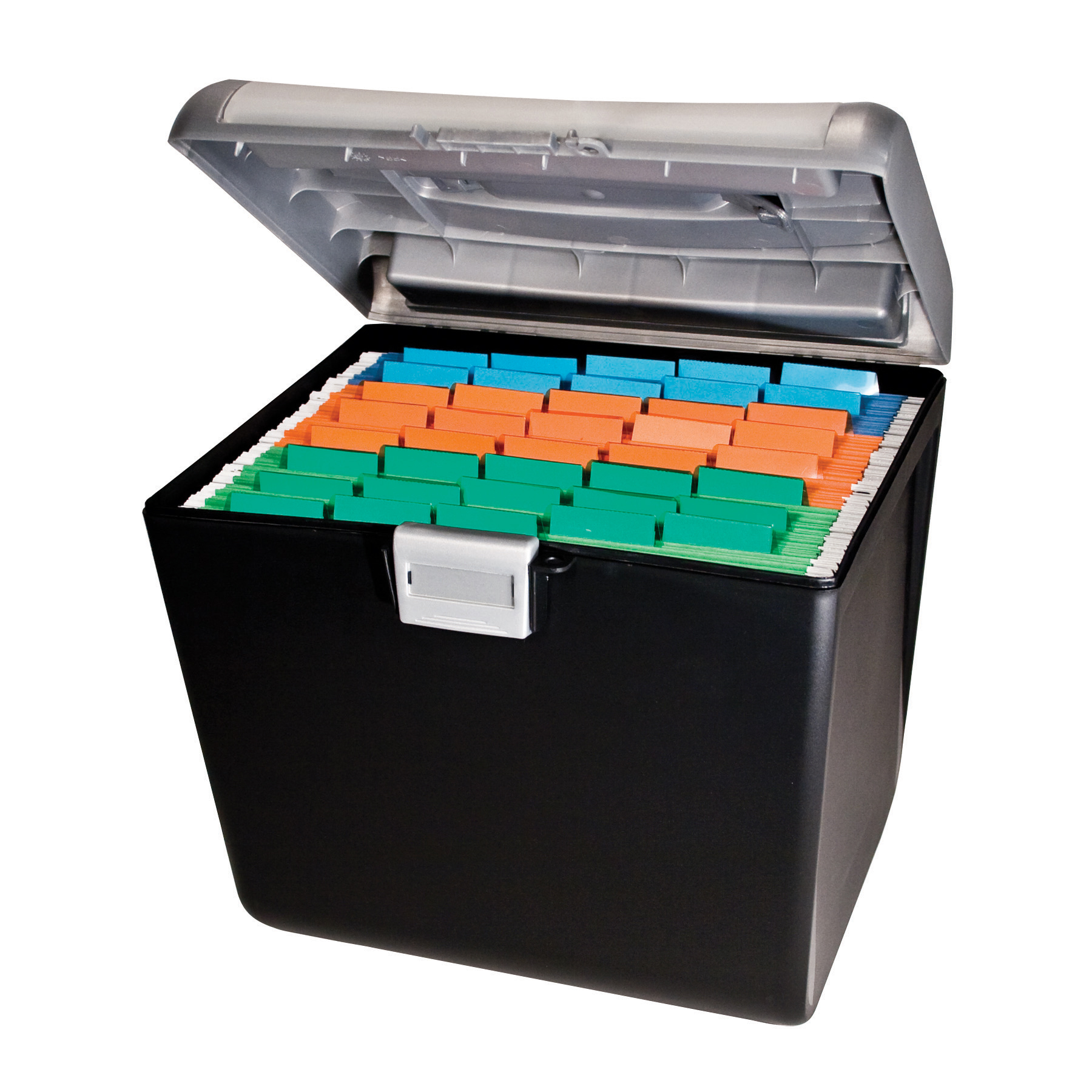 """OfficeMax Weather-Resistant Compact File Box, 7"""" x 15"""" x 13"""", Black"""