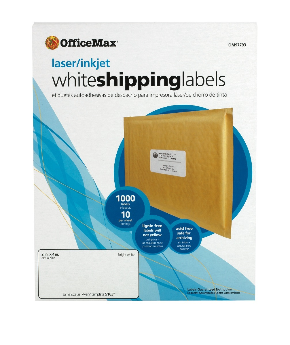 """OfficeMax Multipurpose Labels, 2x4"""", White"""