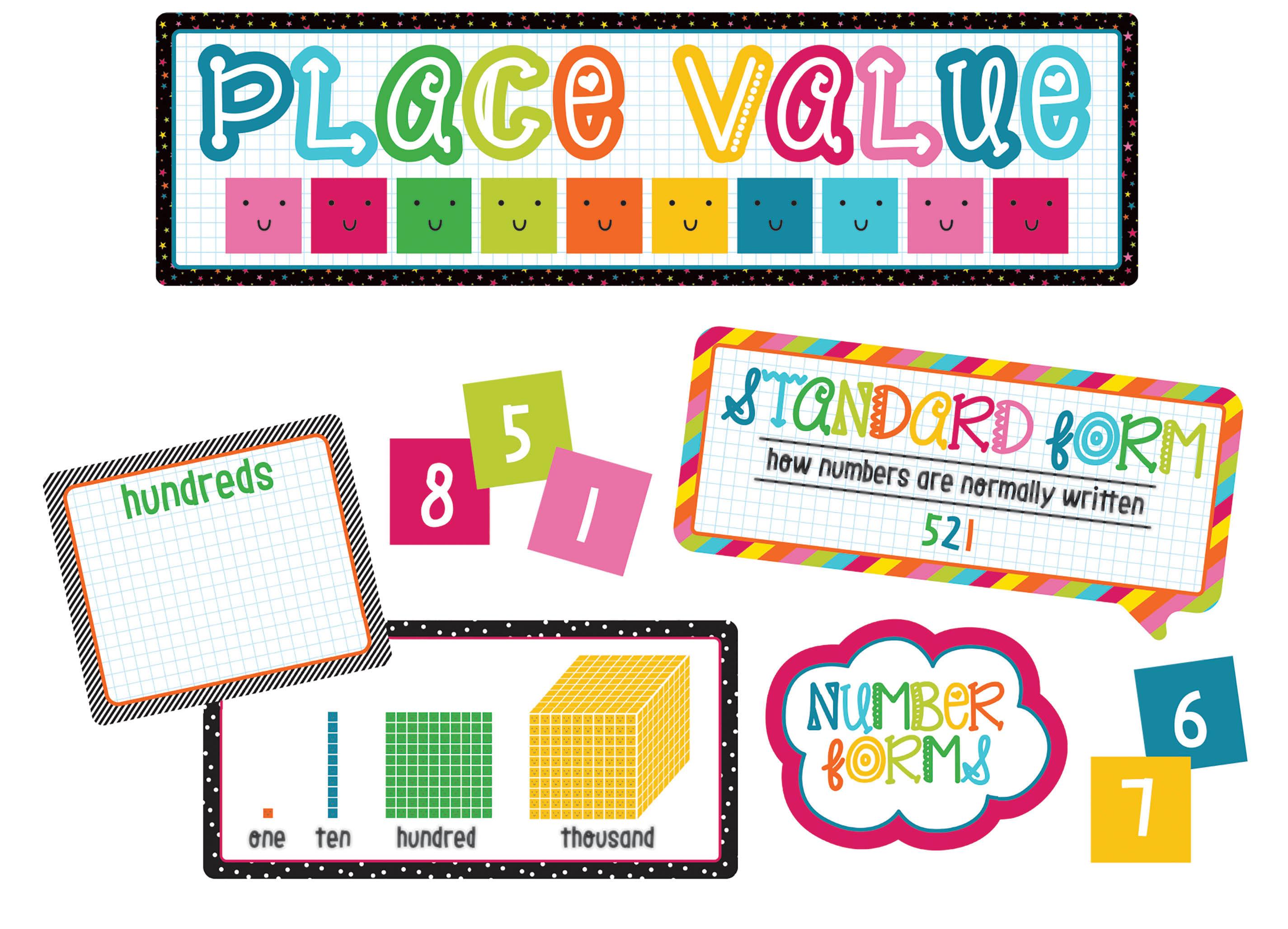 Carson-Dellosa School Pop Place Value Mini Bulletin Board Set, Multicolor, Grades K-3