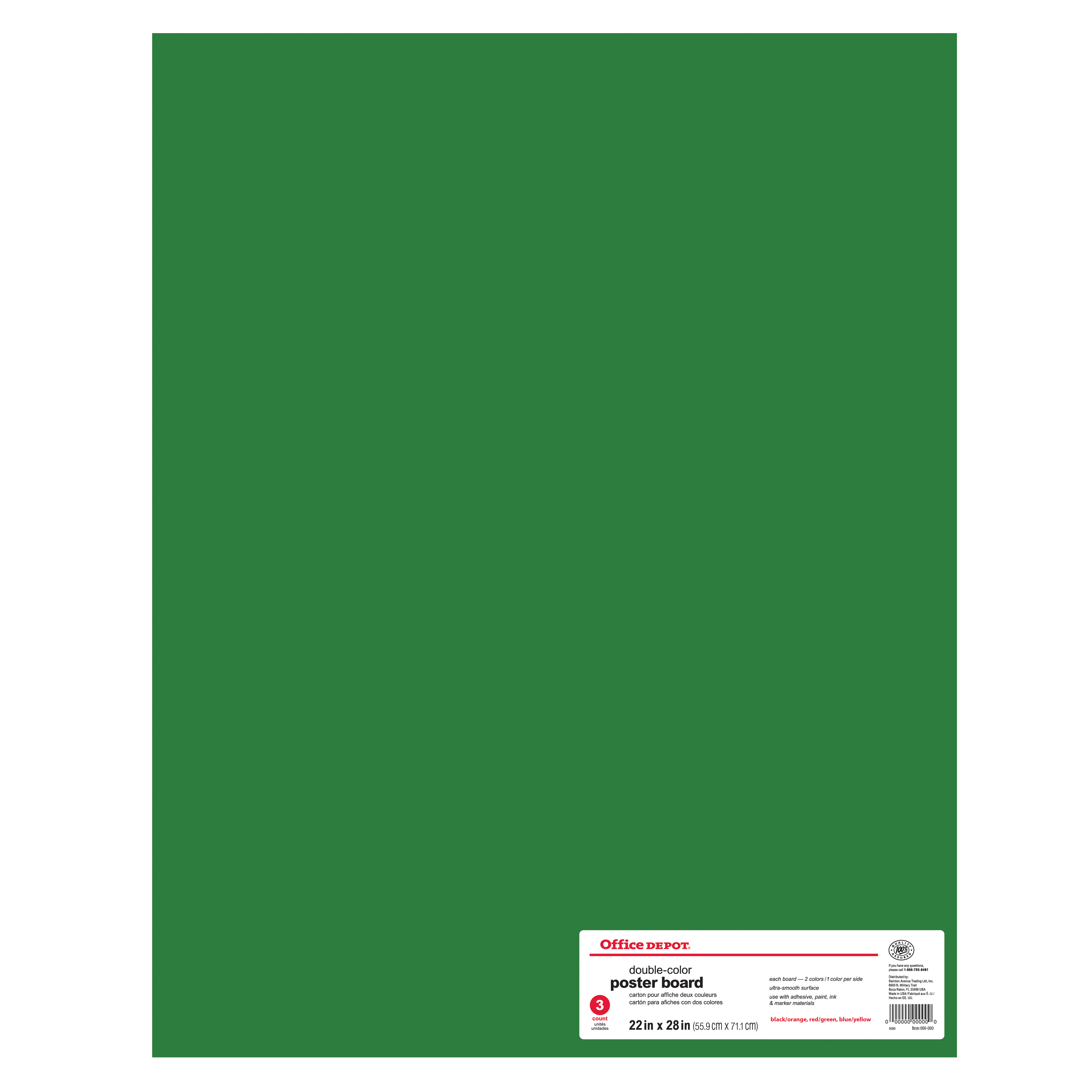 """Royal Brites® Cool Colors Poster Board, 22"""" x 28"""", Primary Assorted Colors, Pack Of 3"""