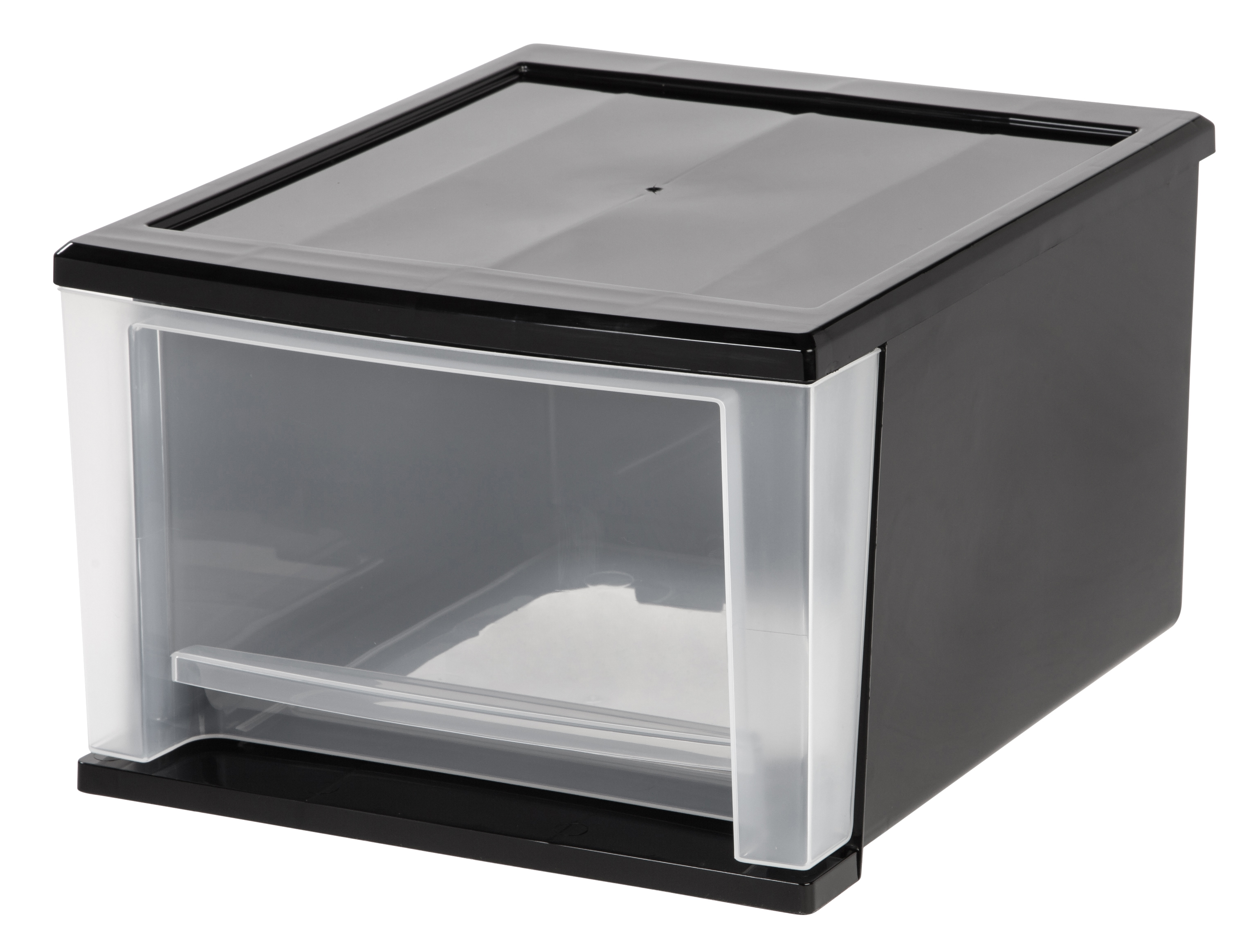 "Iris® Modular Drawer, 4.25 Gallon, 14 3/10""L x 12 1/10""W x 14 3/10""D x 8 2/5""H, Black/Clear"