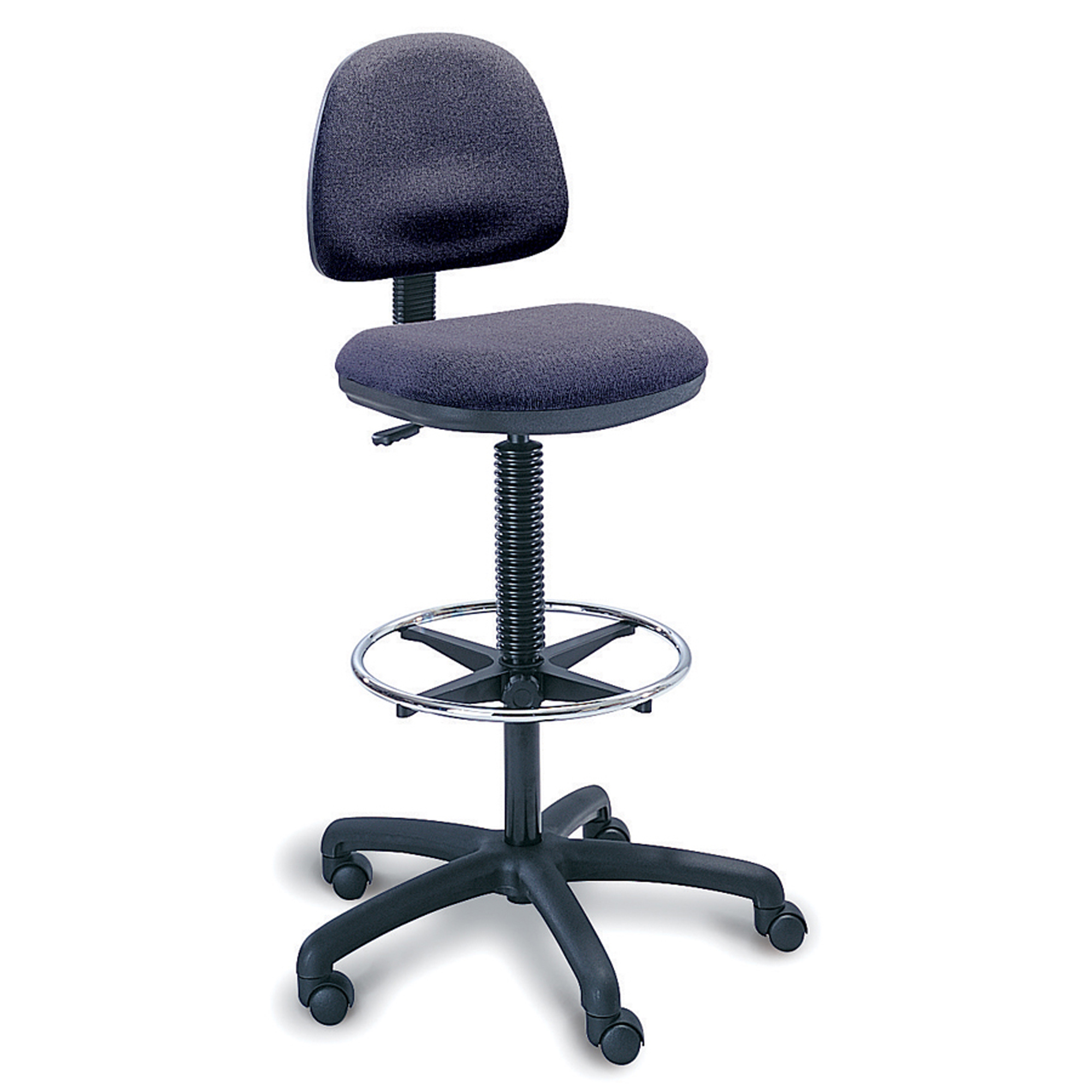 Safco® Precision Extended-Height Fabric Chair, Dark Gray/Chrome