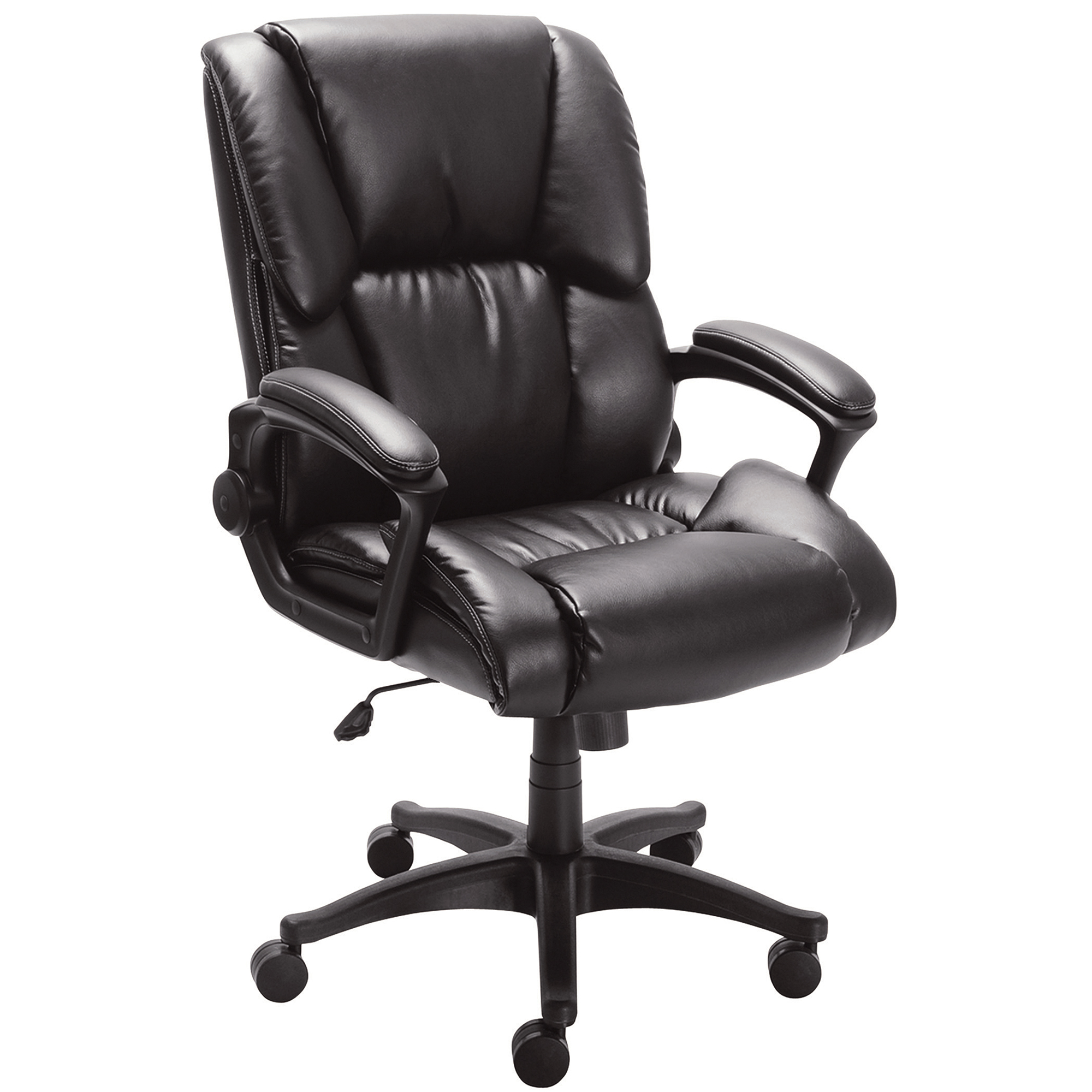 Realspace® Caldina II Bonded Leather Mid-Back Chair, Black