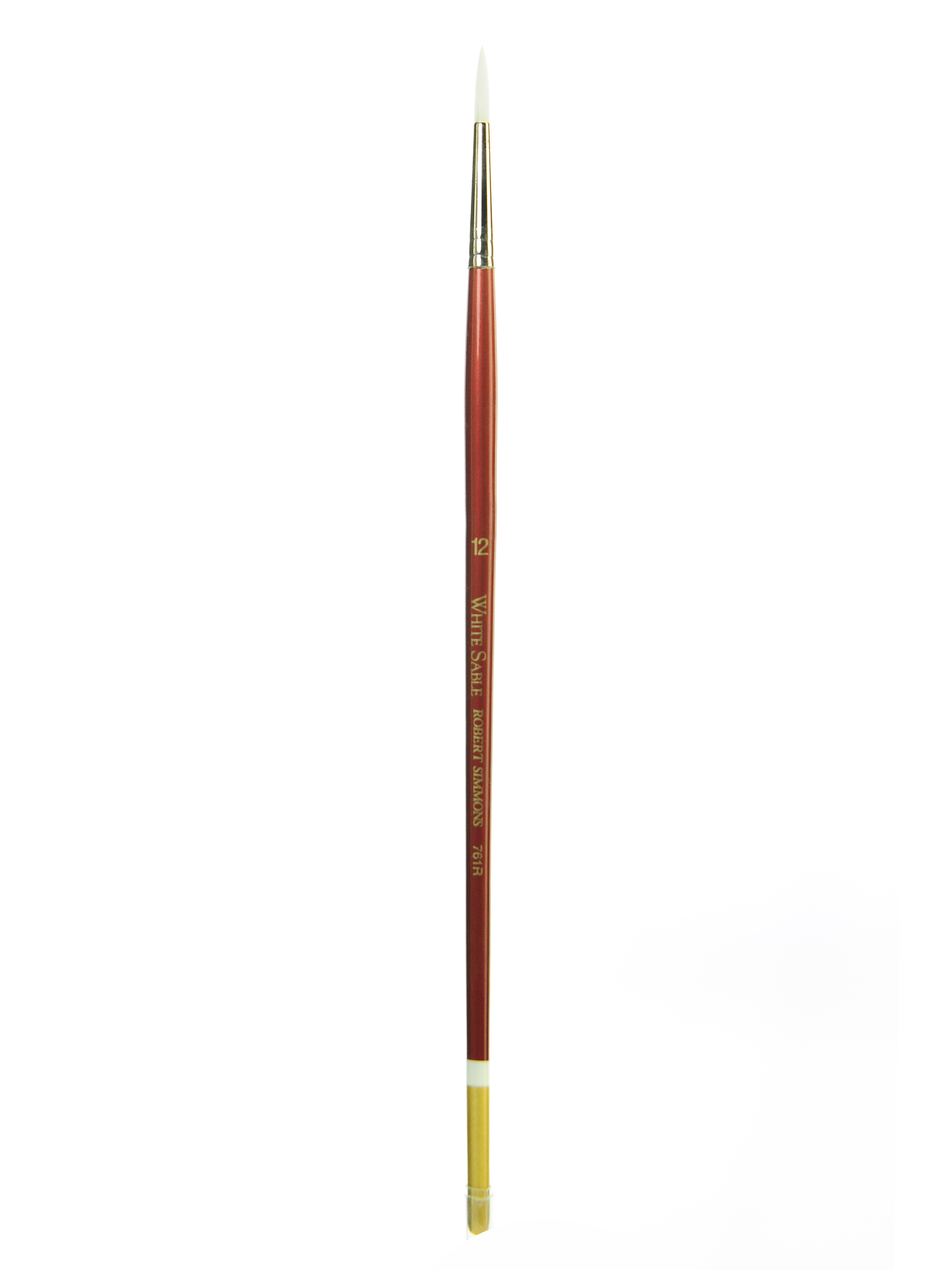 Robert Simmons White Sable Long Handle Paint Brush 761R, Size 12, Round Bristle, Sable Hair, Brown