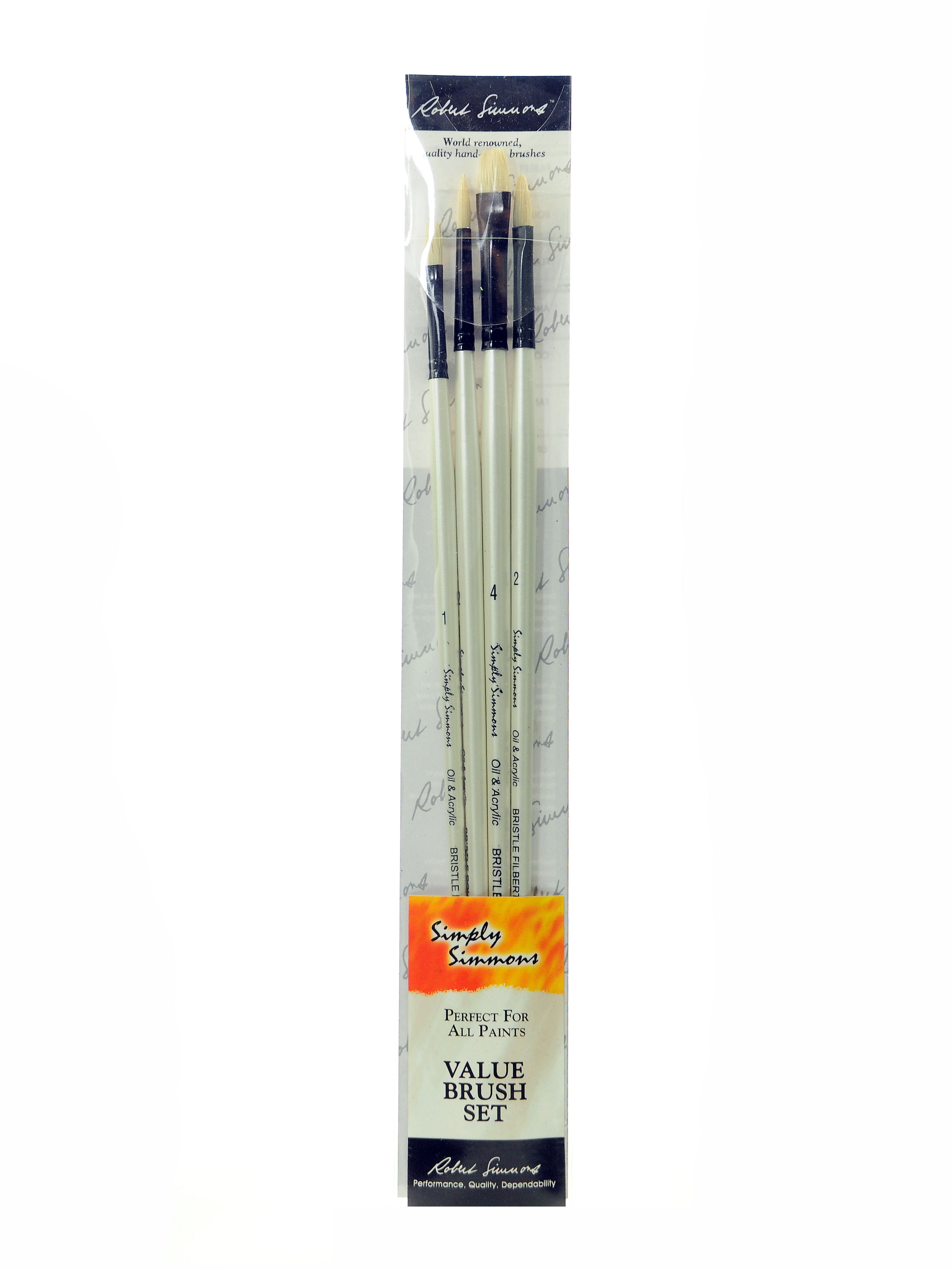 "Robert Simmons Simply Simmons Long-Handle Paint Brush Set, 2"", Assorted Bristles, Hog Hair, White, Set Of 4"