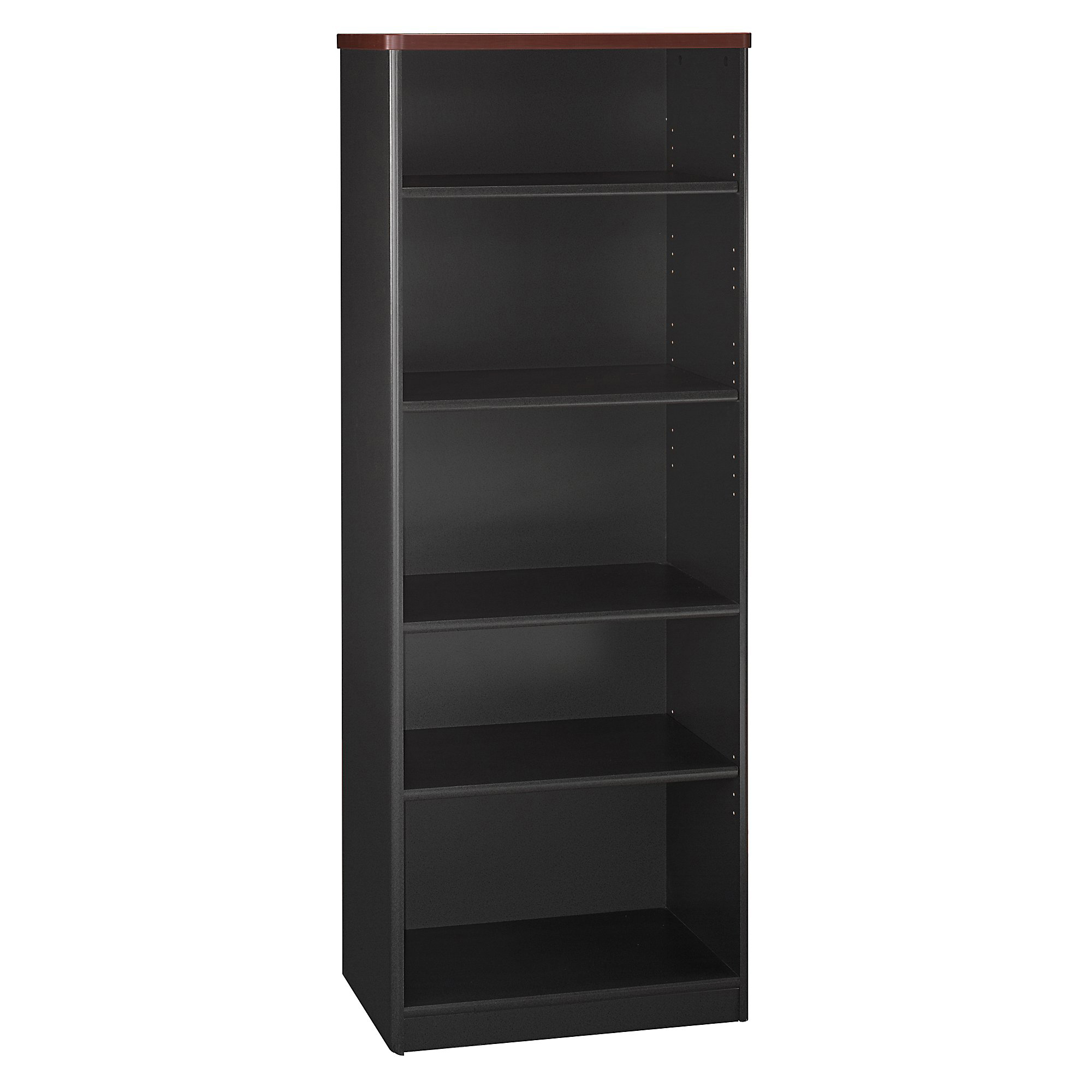 "Bush Business Furniture Office Advantage 5 Shelf Bookcase, 26""W, Hansen Cherry/Galaxy, Premium Installation"