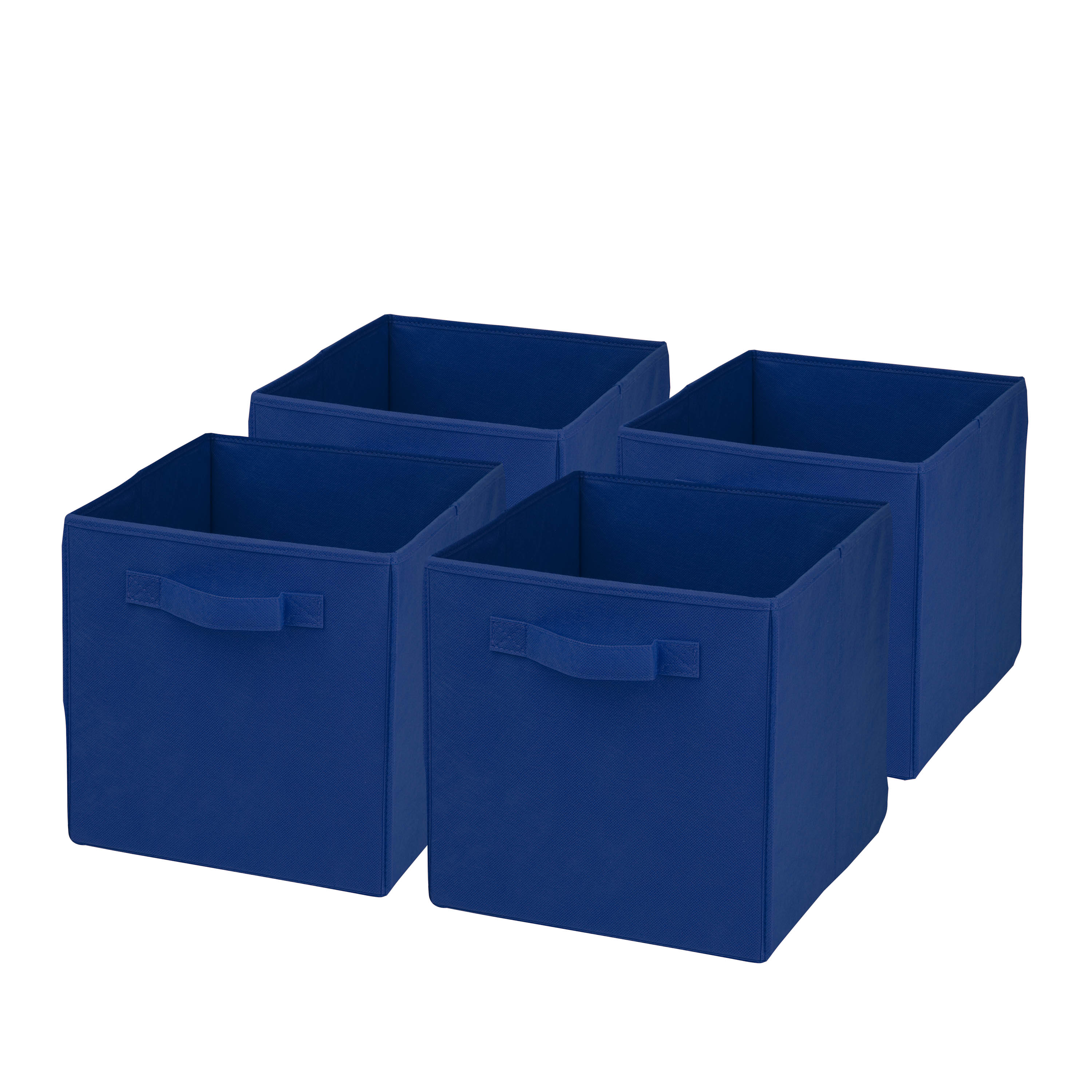 """Honey-Can-Do Non-Woven Foldable Cubes, 11 7/16""""H x 10 5/8""""W x 10 5/8""""D, Blue, Pack Of 4"""