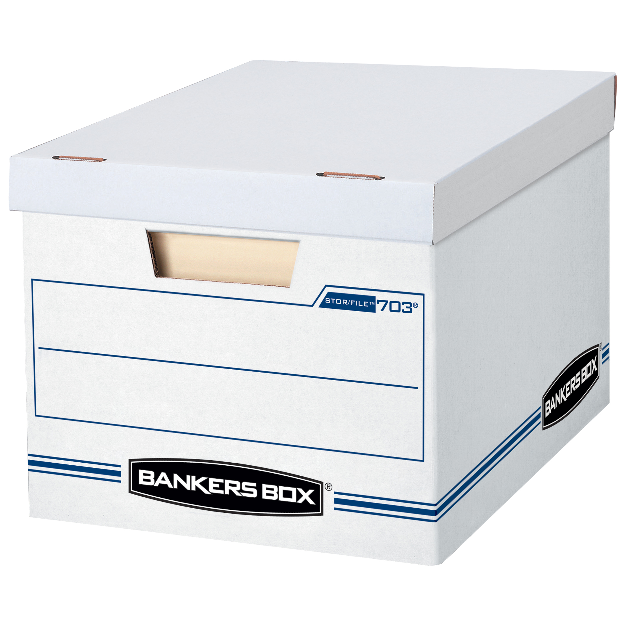 """Bankers Box® Stor/File™ Basic Strength Storage Boxes, 15"""" x 12"""" x 10"""", Letter/Legal, 60% Recycled, White/Blue, Pack Of 12"""