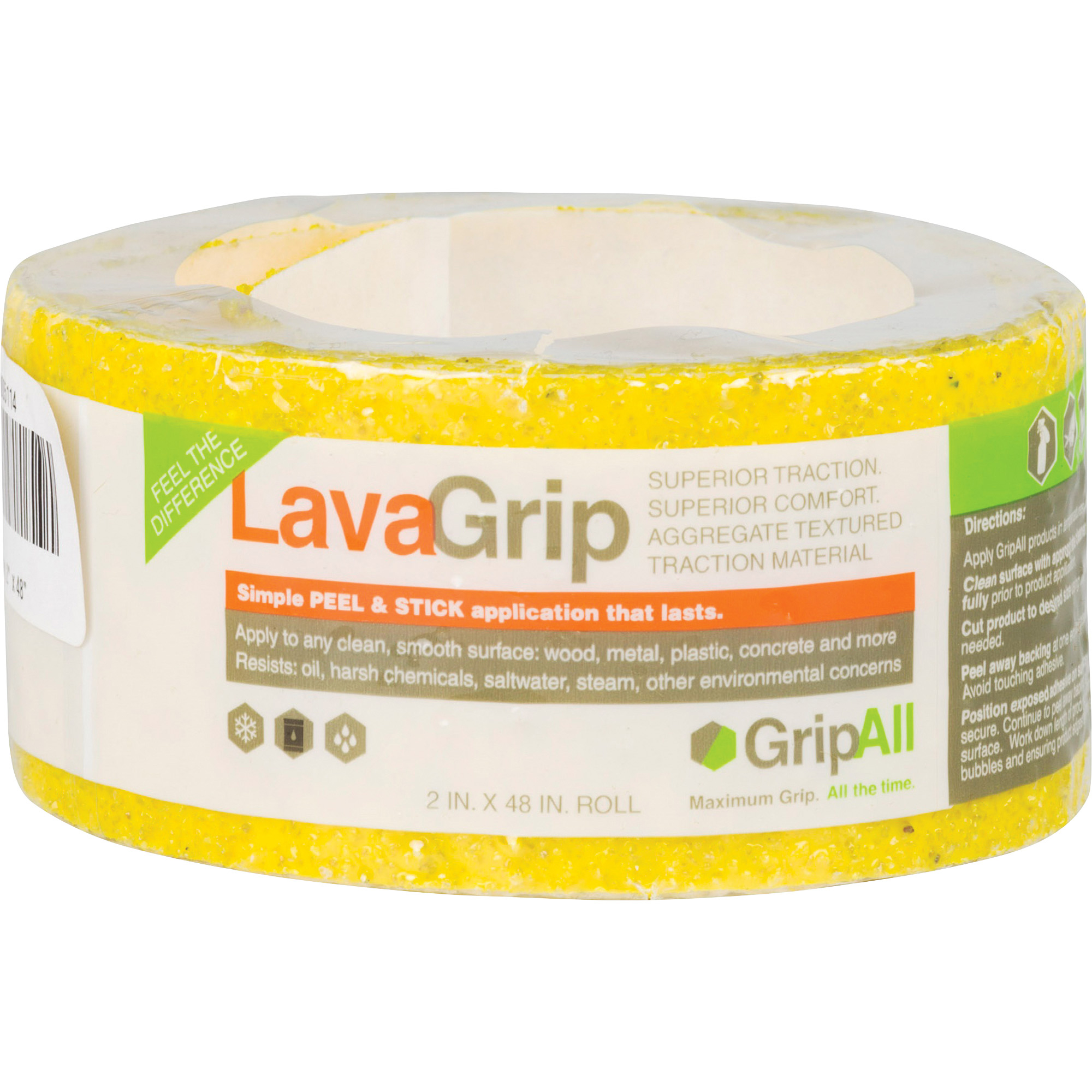 "GripAll LavaGrip Anti-Slip Strip, 6"" x 4', Yellow"